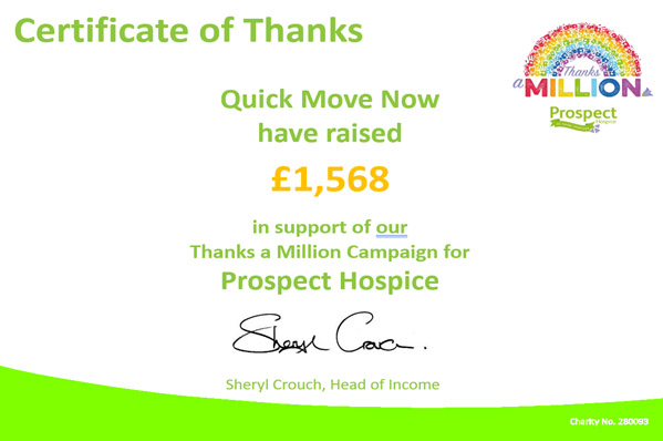 Prospect Hospice says 'Thanks a Million' for Quick Move Now's fundraising efforts