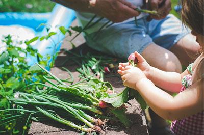 family spending time in garden